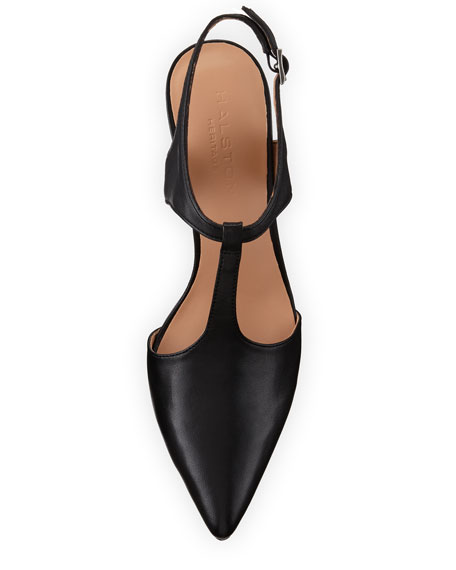 Ruthie Pointed-Toe T-Strap Pump, Black