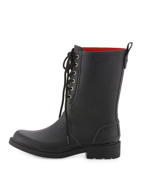 Ansel Lace-Up Rain Boot, Black
