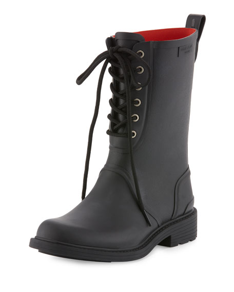 Ansel Lace-Up Rain Boot, Black