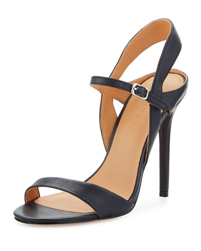 Ainsley Open-Toe Leather Sandal, Navy