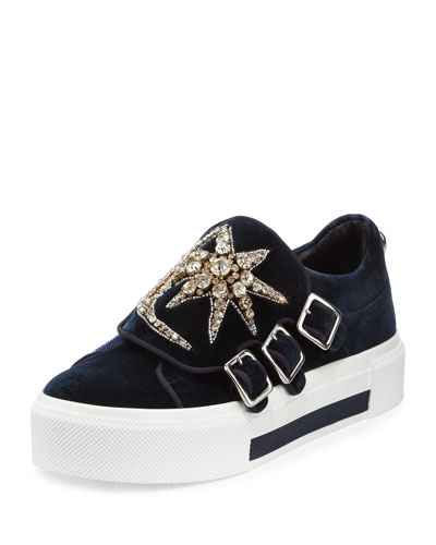 Triple-Monk Velvet Sneaker w/Jeweled Moon & Star, Navy/Silver