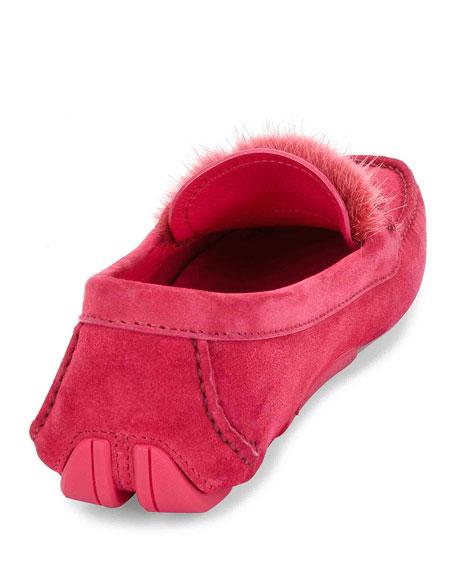 Fur-Trim Gancini Loafer, Framboise
