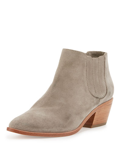 Barlow Suede Pointed-Toe Bootie, Dove