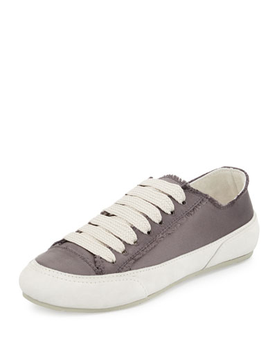 Parson Satin Low-Top Lace-Up Sneaker, Steel