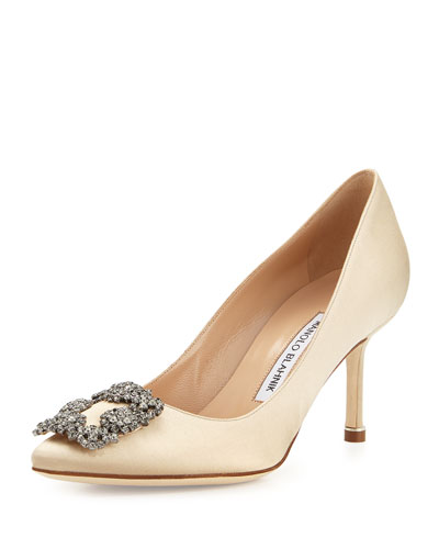 Hangisi Crystal-Buckle Satin 70mm Pump, Champagne
