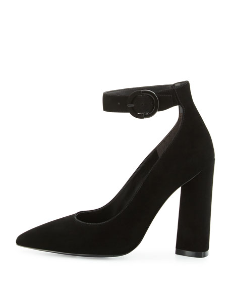 Gloria Suede Ankle-Wrap Pump, Black