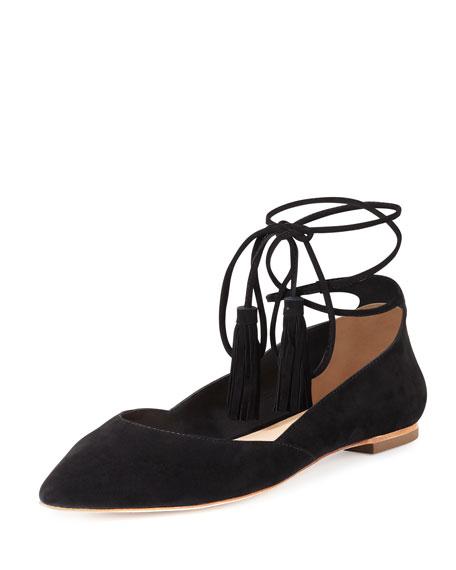 Penelop Suede Ankle-Wrap Flat, Black