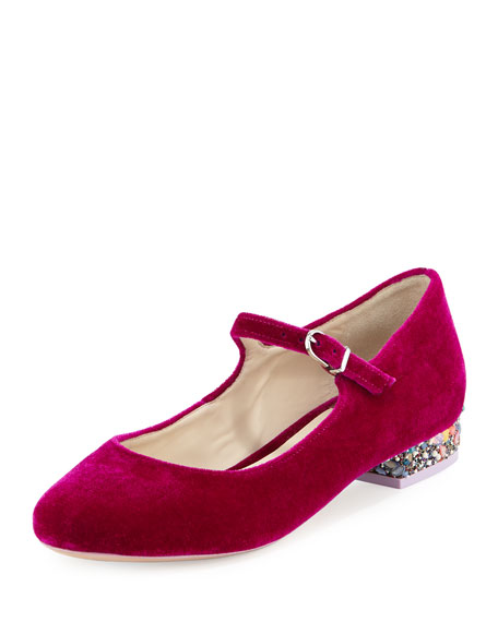 Renee Velvet Mary Jane Flat, Winter Cherry