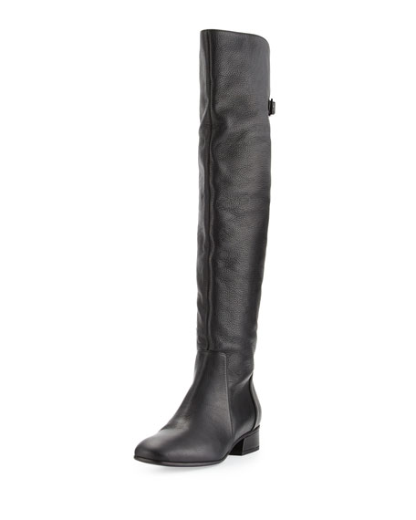 Aquatalia Lala Leather Over-the-Knee Boot, Black