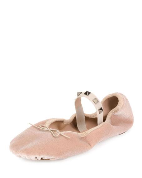 Valentino Rockstud Velvet Ballerina Flat, Poudre
