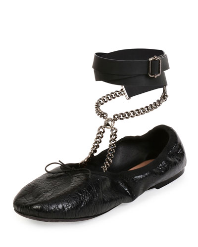 Rockstud Ballet Chain Ankle-Wrap Leather Flat, Nero