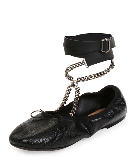 Valentino Rockstud Ballet Chain Ankle-Wrap Leather Flat, Nero