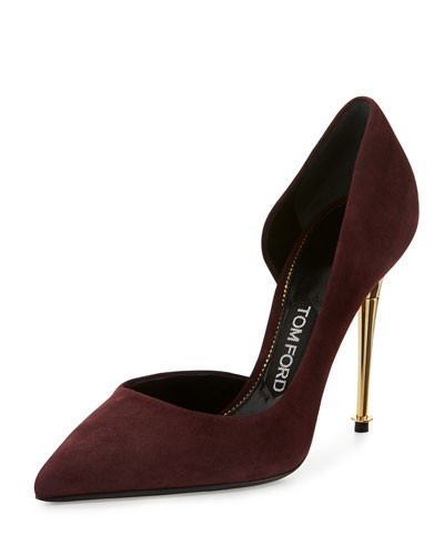 Golden Stack Half-d'Orsay Pump, Wine