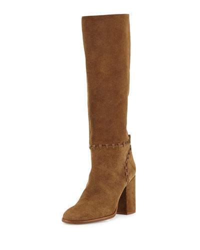 Contraire Suede 90mm Knee Boot, River Rock