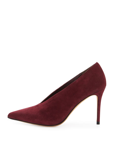 Portia Suede Pointed-Toe Pump, Oxblood