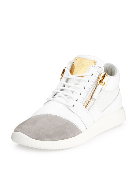 Giuseppe Zanotti Singleg Leather & Suede Side-Zip Sneaker,