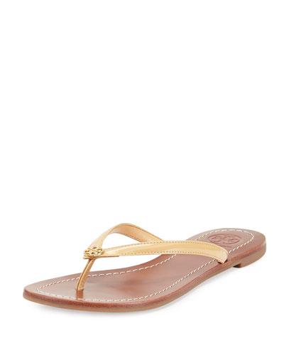 Terra Flat Patent Thong Sandal, Sun Beige