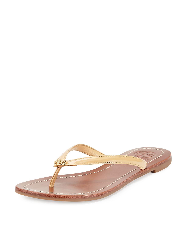 abe9a97f4e7c Tory Burch Terra Flat Patent Thong Sandals