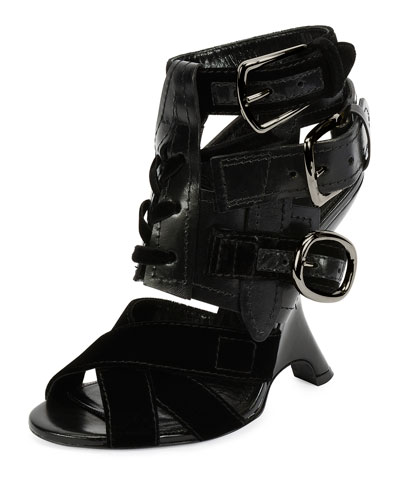 Multi-Strap 110mm Wedge Sandal, Black