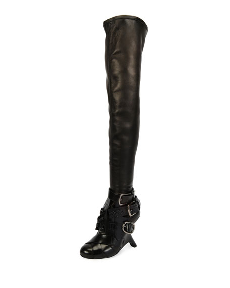 TOM FORD Multi-Strap Wedge Over-the-Knee Boot, Black