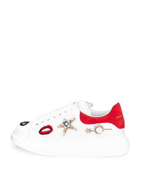 Jeweled Leather Platform Sneaker, White/Multi/Blaze Red