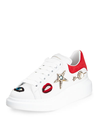 Jeweled Leather Platform Sneaker, White/Multi/Blaze Red
