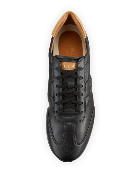 Trafton Grand.OS Vintage Leather Trainer, Black