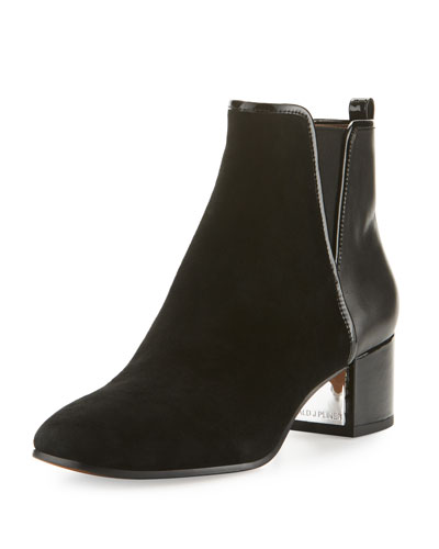 Cayto Suede & Leather Chunky-Heel Bootie, Black