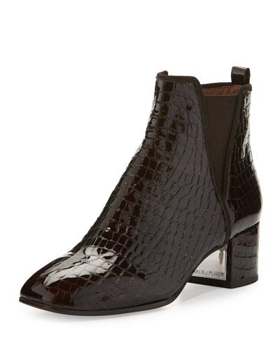 Cayto Crocodile-Embossed Chunky-Heel Bootie, Chocolate