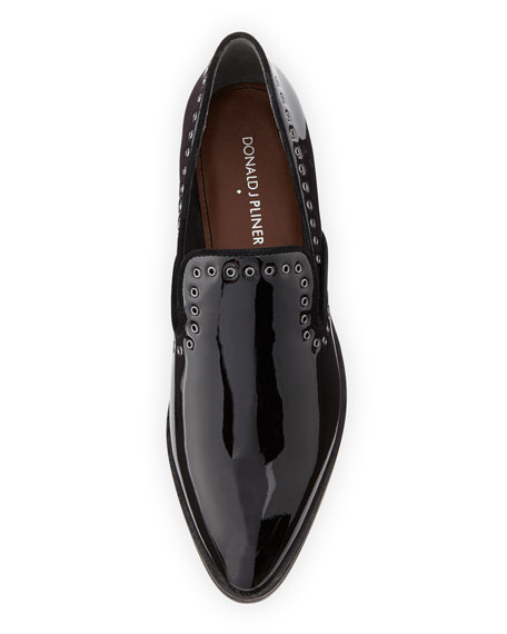 Galia Grommet-Trim Patent Loafer, Black