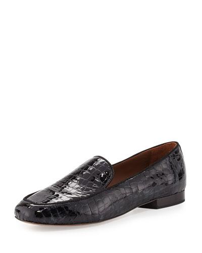 Helene 2 Crocodile-Embossed Loafer, Black