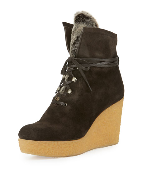 Coclico Nagy Faux-Fur Wedge Bootie, Anthracite