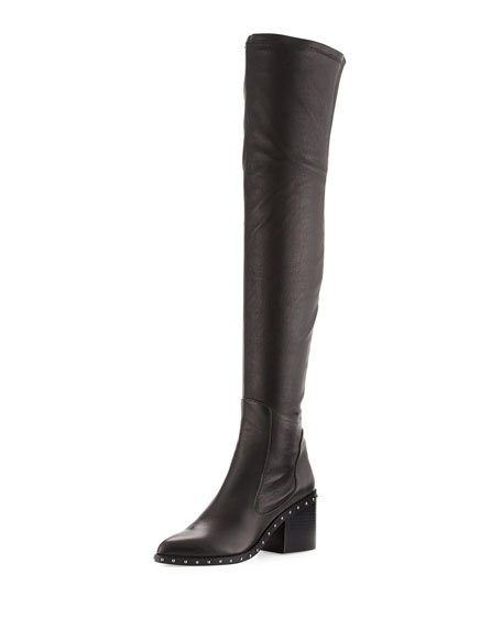 Rhea Leather Over-the-Knee Boot, Black