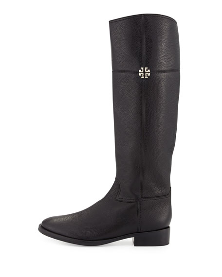 Jolie Leather Riding Boot, Black