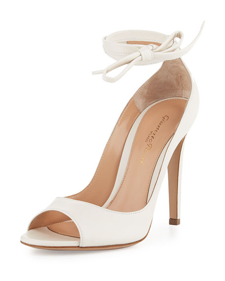 Gianvito Rossi Leather Ankle-Wrap 105mm Pump, White