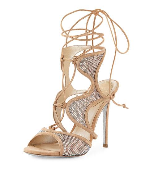 Rene Caovilla Crystal-Embellished Suede Ankle-Wrap Sandal,