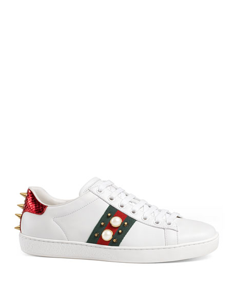 New Ace Pearl And Stud-Detail Leather Trainers, White