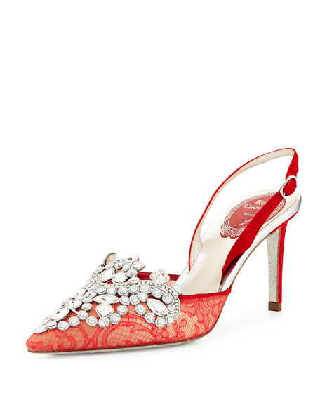 Rene Caovilla Crystal Lace 75mm Slingback Pump, Red