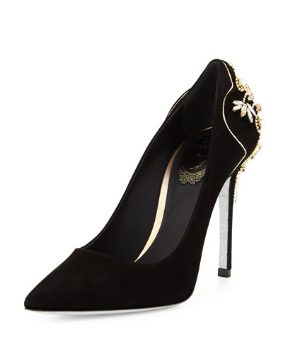 Crystal Suede 105mm Pump, Black