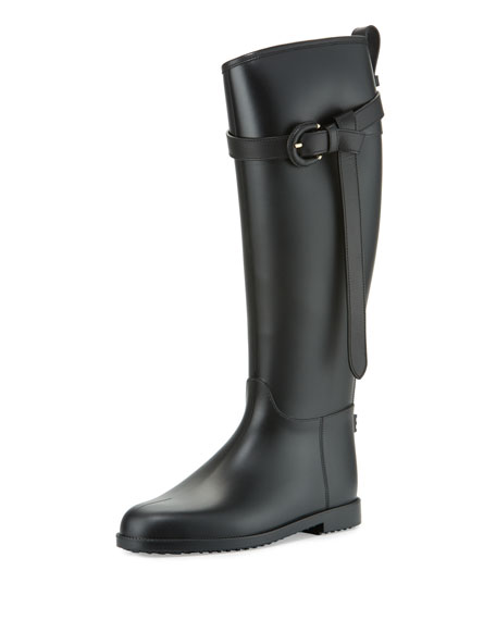 Roscot Belted Rain Boot, Black