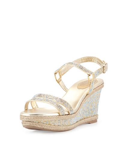 Crystal Wedge Espadrille Sandal, Gold