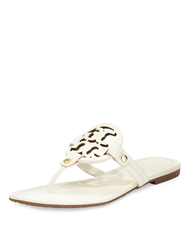 587443fd2230 Tory Burch Miller Leather Logo Flat Slide Sandal