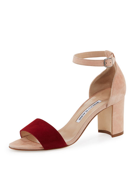 Lauratomod Colorblock Suede Ankle-Wrap Sandal, White/Red