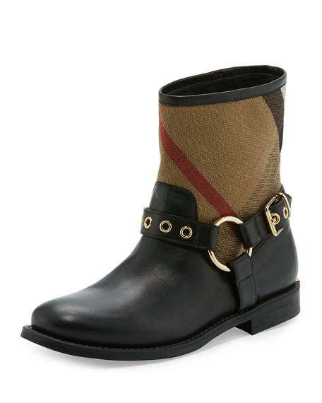 Burberry Queenstead Check Ankle Boot, Black