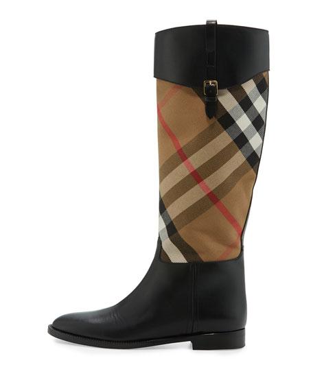 Copse House Check Rain Boot, Black