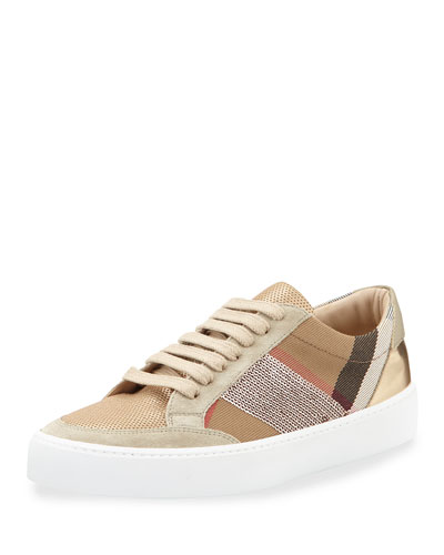 Salmond Sequined Check Low-Top Sneaker, House Check/Pale Pink