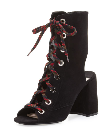 Suede Lace-Up 85mm Bootie, Nero