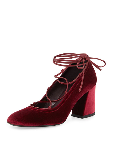 Cordonmid Velvet Lace-Up Pump, Scarlet