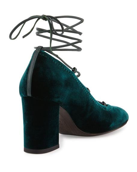 Stuart Weitzman Cordonmid Velvet Lace-Up Pump, Teal