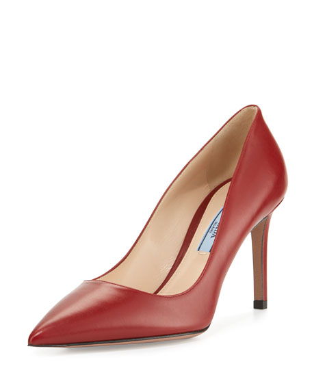 Prada Leather Pointed-Toe 85mm Pump, Red (Cotto)
